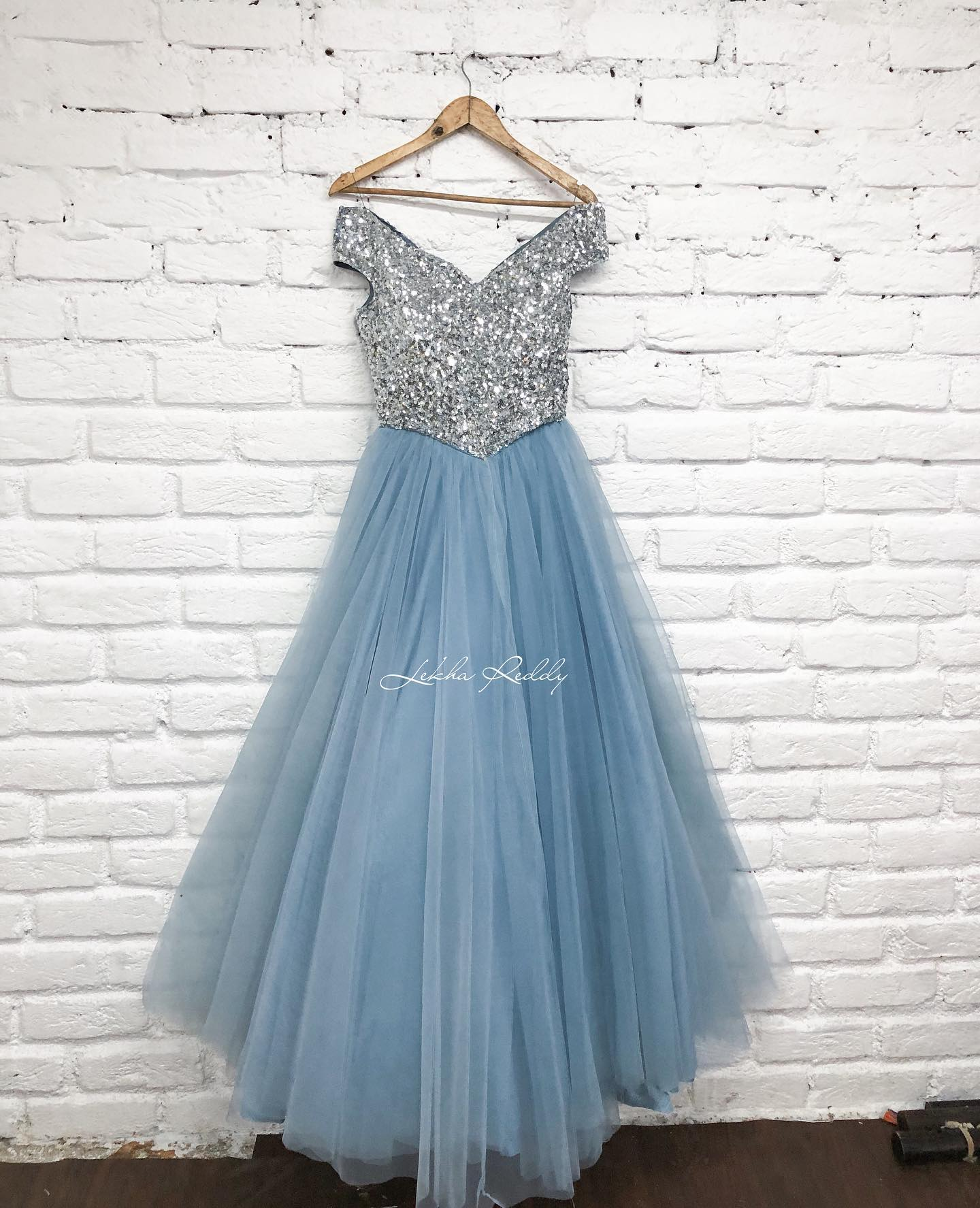 Stunning ice blue gown with hand sequenced bodice..!! . . P.s : Customization as per ur requirement can be done 2021-09-29