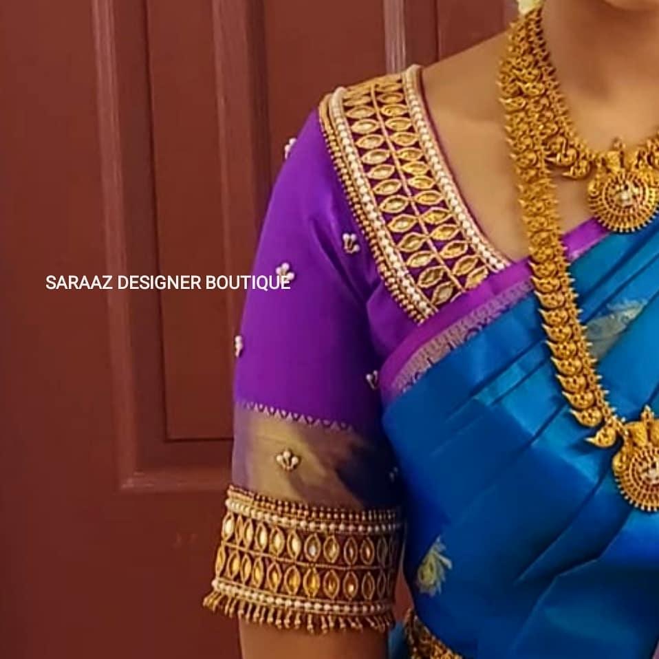Beautiful bridal blouse sleeve and neckline with bead and kundan aari work. 2021-09-29