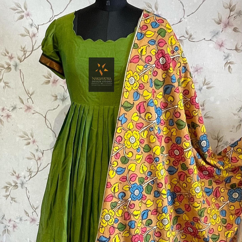 Narayanpet handloom pattu long frock with kanchi style borders paired with pen kalamkari handloom dupattas 2021-09-30