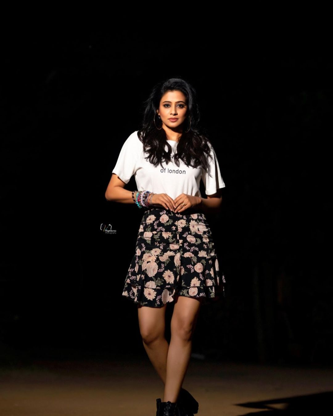 Beautiful actress Priyamani wearing floral mini and white T shirt. Outfit: Made for her. 2021-09-30