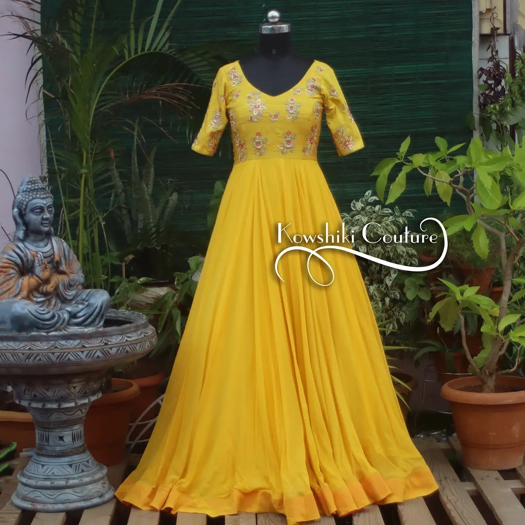 Yellow Long dress with thread and silver zardosi embroidered yoke work . Price : ₹11000 2021-09-30