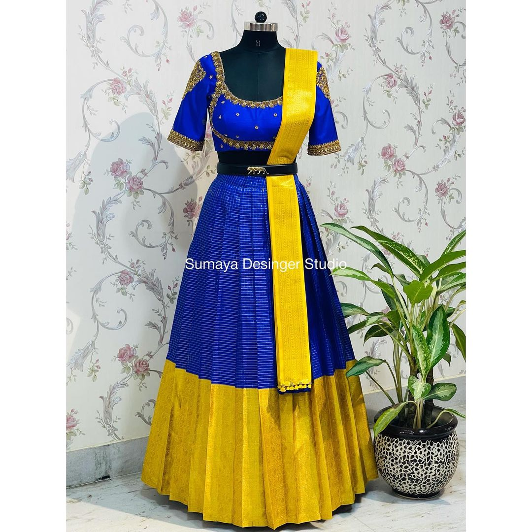 Gorgeous blue and yellow color combination pattu lehenga and maggam work blouse with dupatta. Discover the festive collection. 2021-09-30