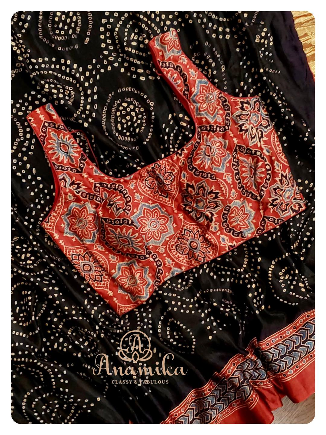 Hot selling Bandini Sarees on pure gaji silk .. with ajrak printed pallu and blouse … now available in 2 colors and at an exciting price