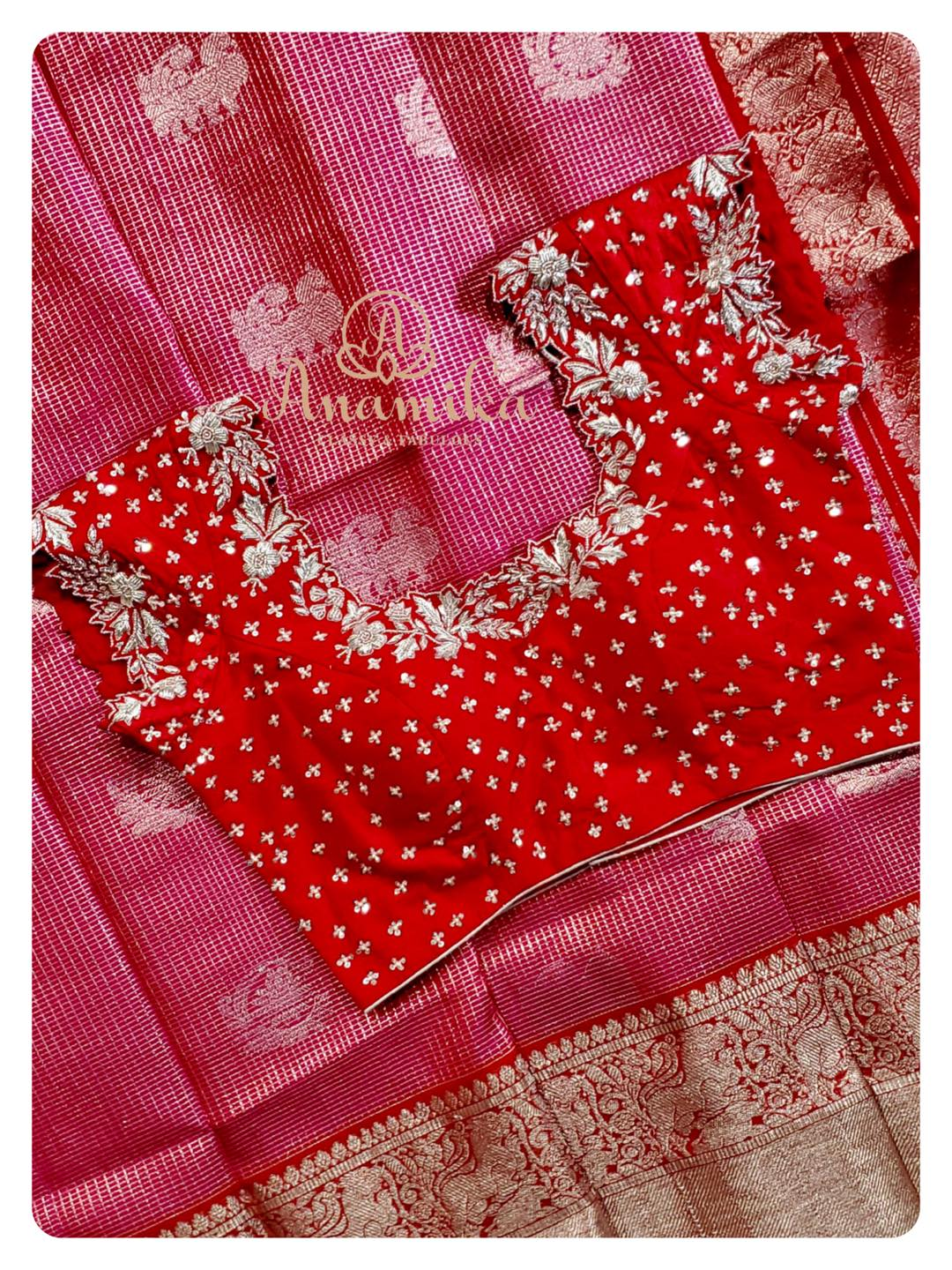 Few colors remain to be an all-time favorite - Pink/Red in silk saree is one such combination !! ❤️ Stand out beautiful in this enticing pink/red combo venkatagiri pattu saree - adorned with all over zari woven buttis and zari lines a rich and royal pallu and border.  Paired with a red hand work blouse with silver emboridery; this sure is another stunner.  A Must-Have color in your wardrobe for the upcoming festival season !!