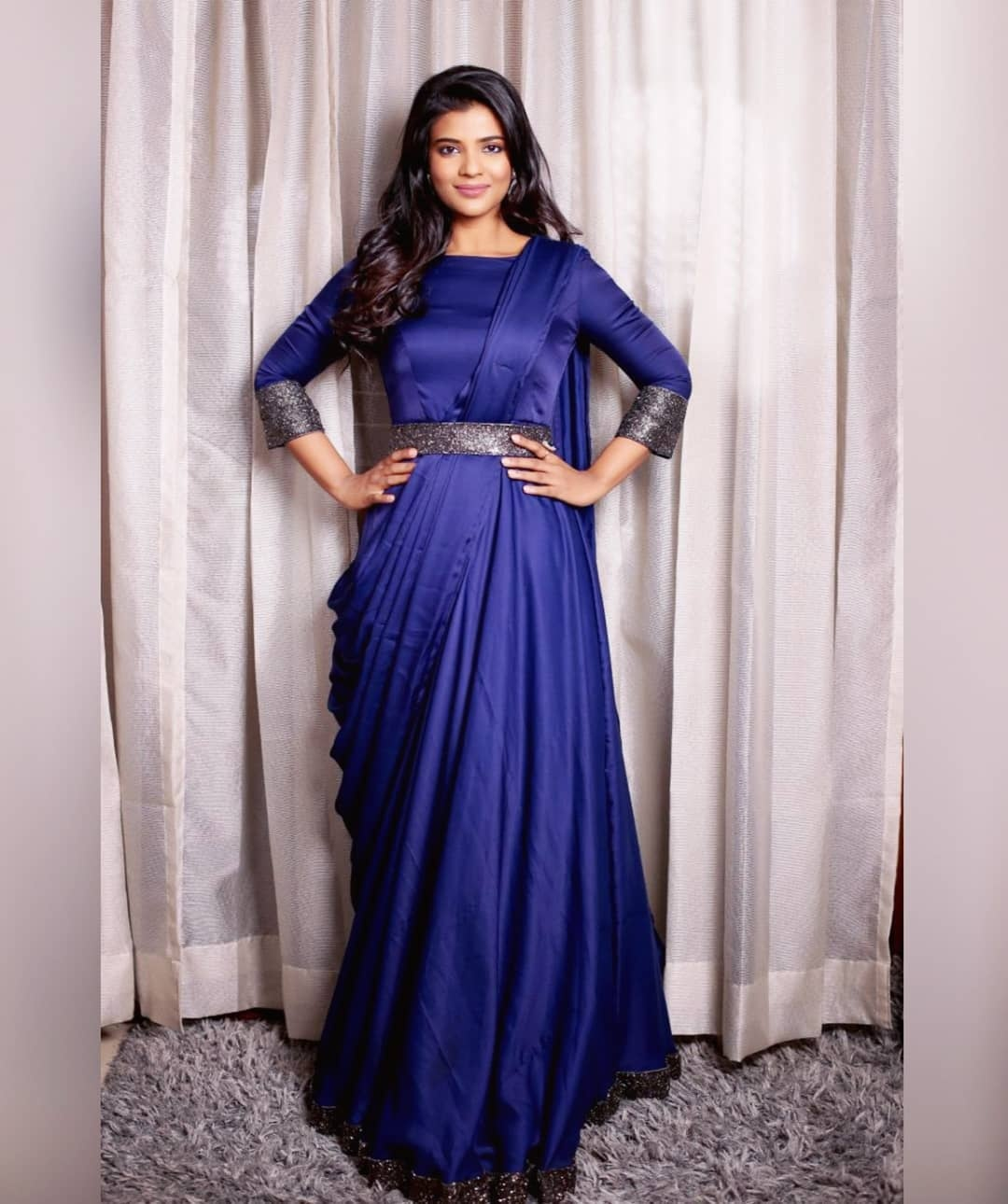 Drape gown. . .  Gorgeous Actress Aishwarya Rajesh in  midnight blue drape gown. . . Place your orders now!  . . For orders and queries please whatsapp on  9952093562 or Reach on 044 4262 4085. 2021-10-01