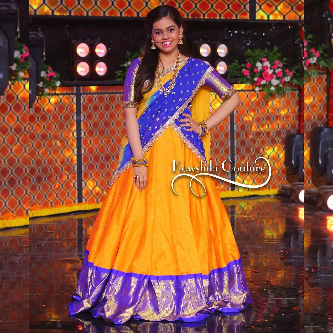 Talented Singer and Saregamapa lilchamps  fame Shanmukha Priya in  traditional pattu langa voni outfit . 2021-10-01