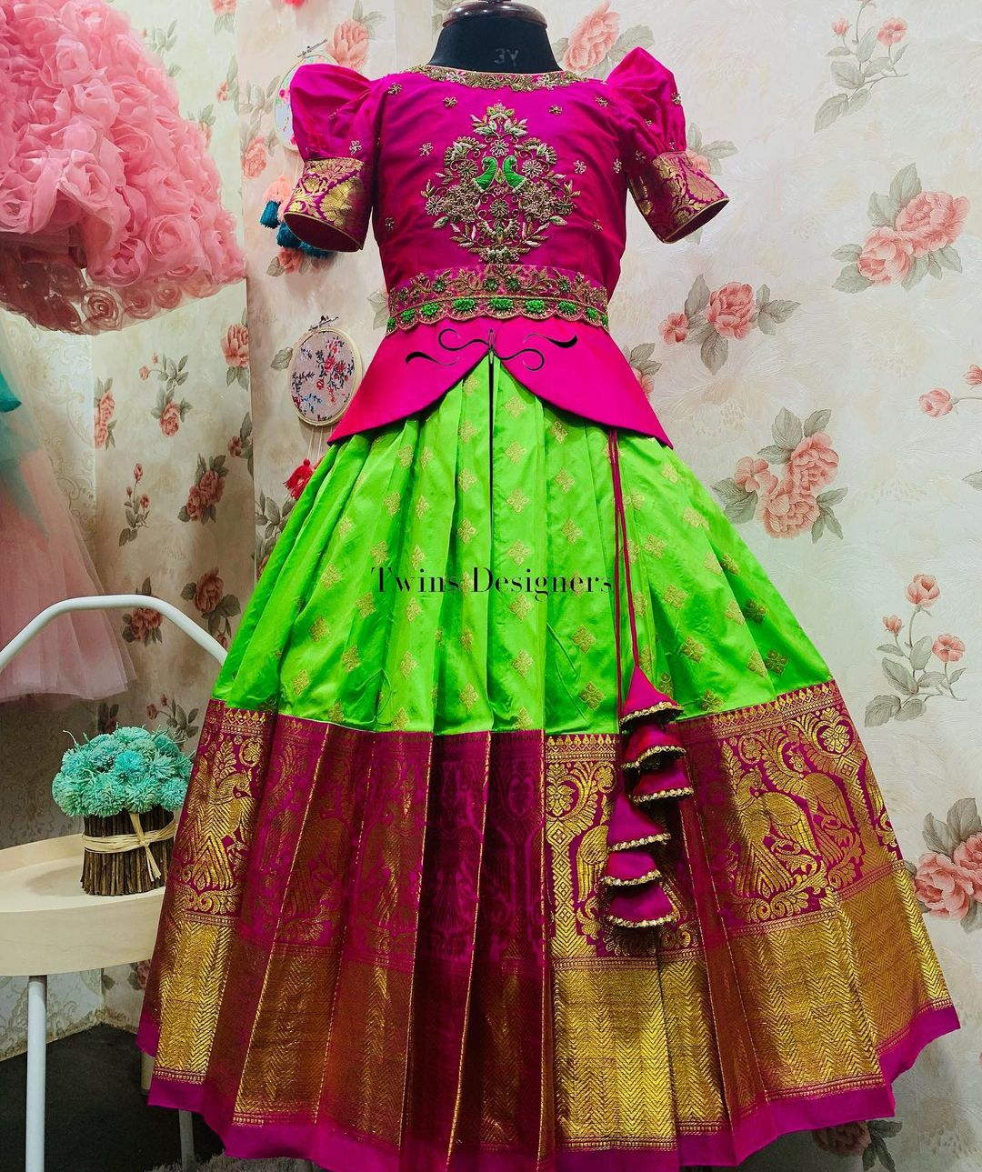 Gorgeous parrot green color kids pattu lehenga and puff sleeve long blouse. Long top with peacock hand embroidery work.  2021-10-02