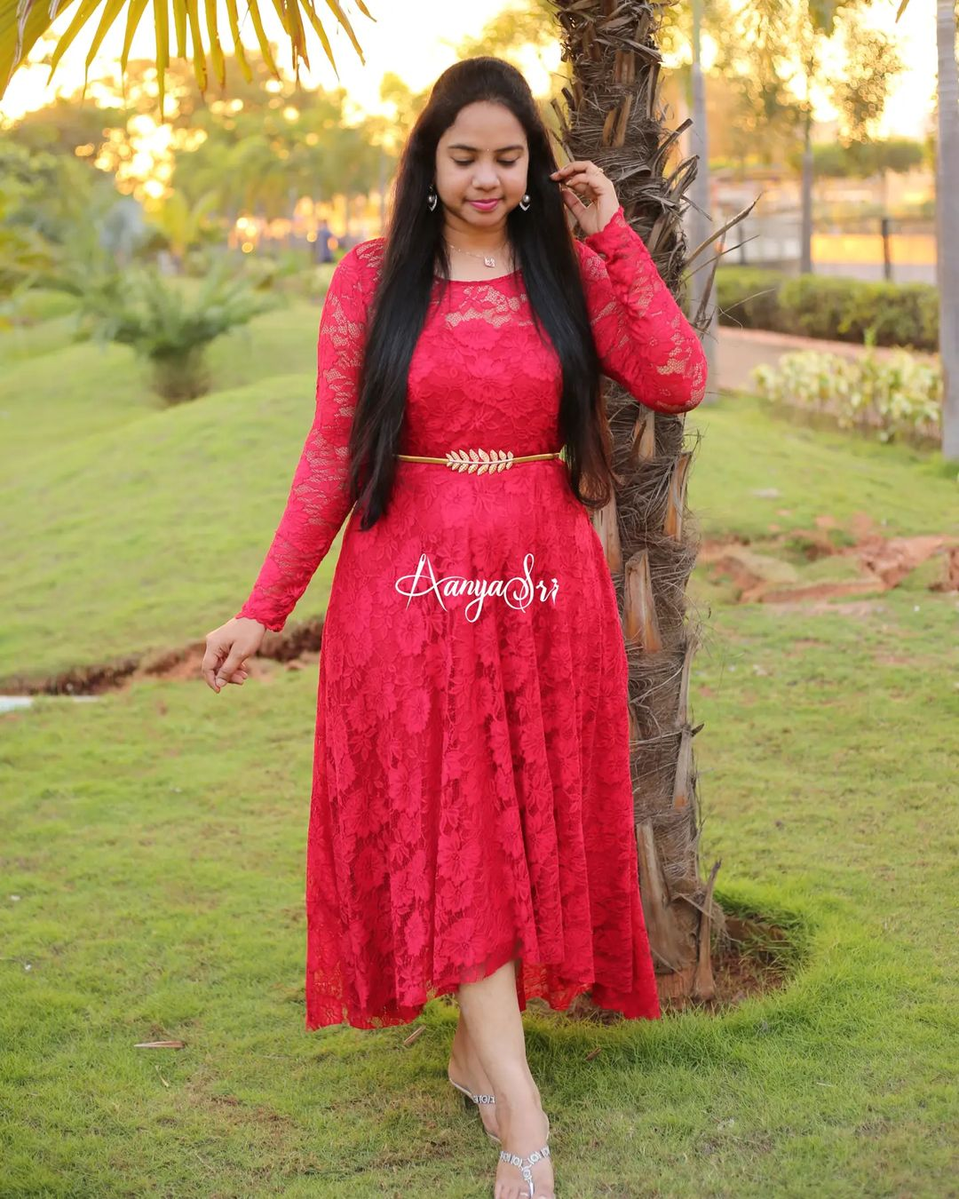 Beautiful red color laced high low dress with sheer yoke and hands .This frock is made of a stretchable high quality lace fabric ! Price : 2600/- 2021-10-02