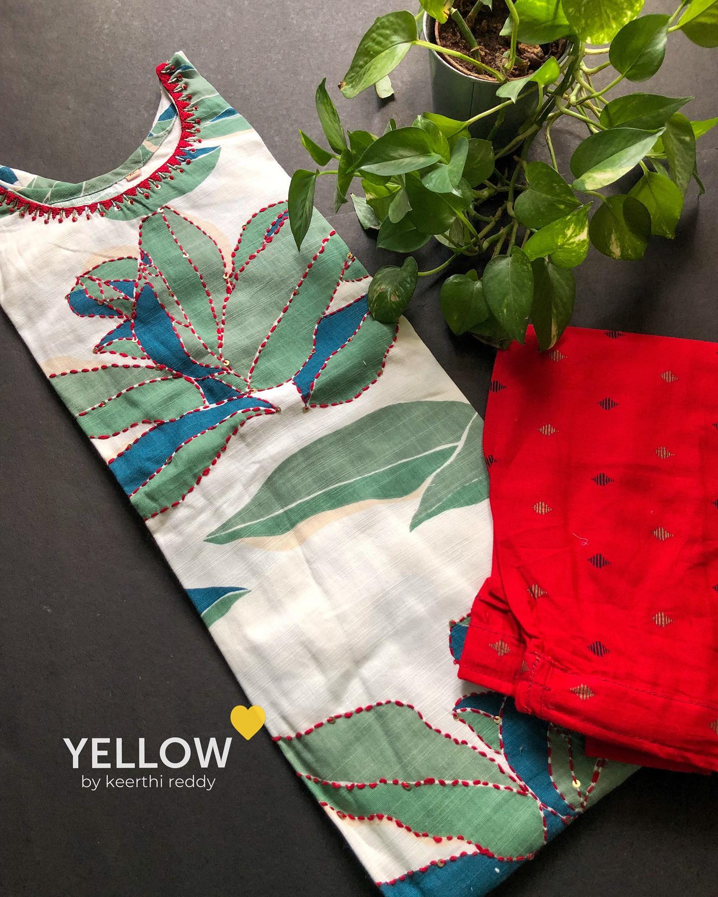 Khadi cotton printed kurta with thread worked highlights paired up with red printed pants . Size - L  XL  XXL Price - 2299 INR . . Kindly WhatsApp  @ 7995038888 for placing orders. 2021-10-03