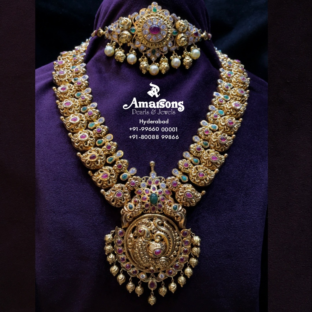 Antique Gold Nakshi Necklace and Choker. 2021-10-04