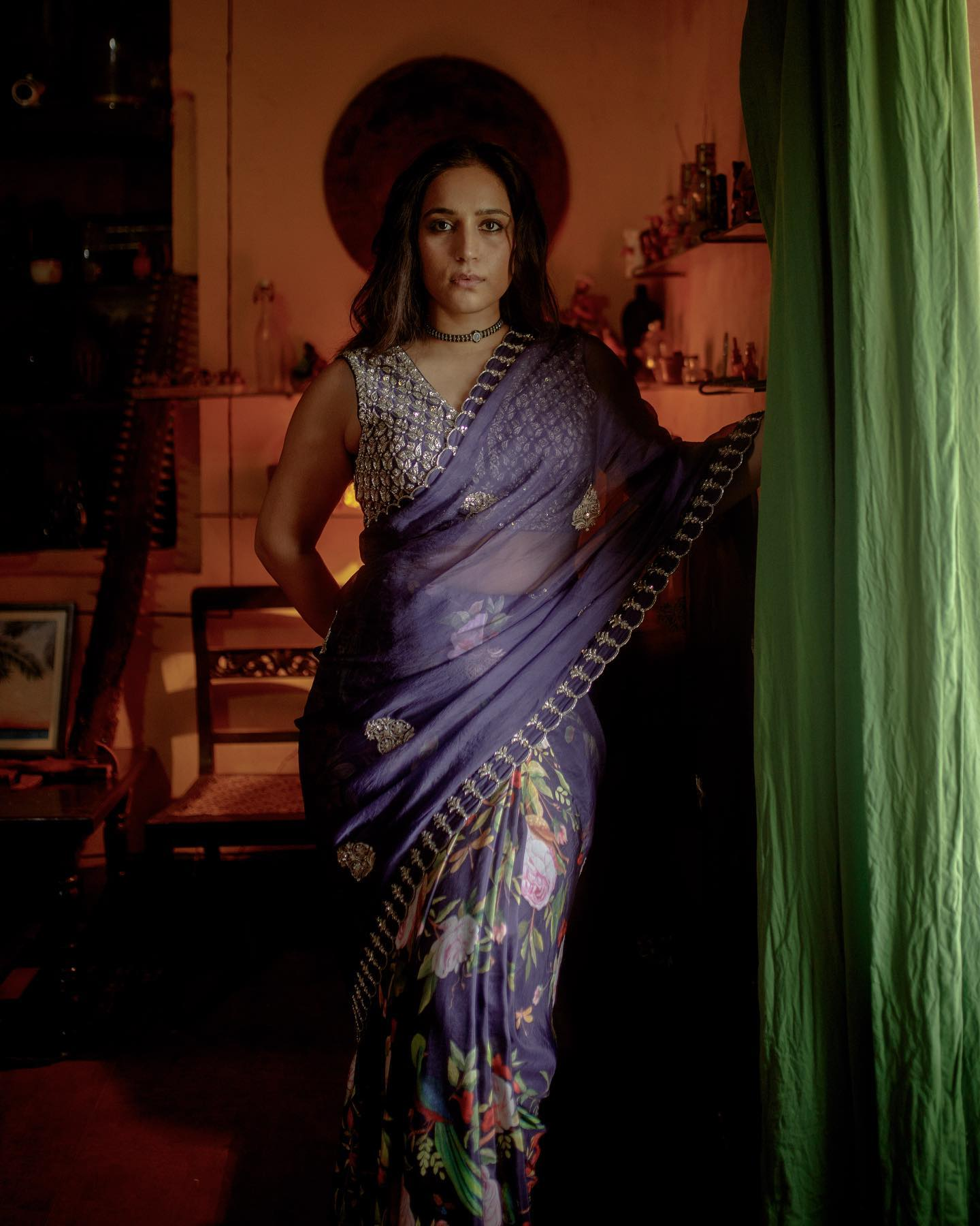 A subtle beauty characterizes the Zoya collection. Floral and embroidered details in vintage hues express a timeless feminity translated into six yards of love.  Zoya @zyhssn wears Vana deep violet organza saree paired with a zardosi blouse. 2021-10-05