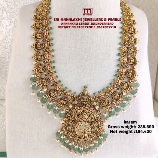 Exquisitely handcrafted Antique Bridal Laxmi haram best quality Kundan with pearls and Emerald Drop 2021-10-05