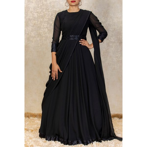 Black drape gown. . . Ready to wear drape gown collection from Anju shankar label . . . Place your orders now!  . . For orders & queries please whatsapp  on  9952093562 or Reach  on 044 4262 4085. 2021-10-05