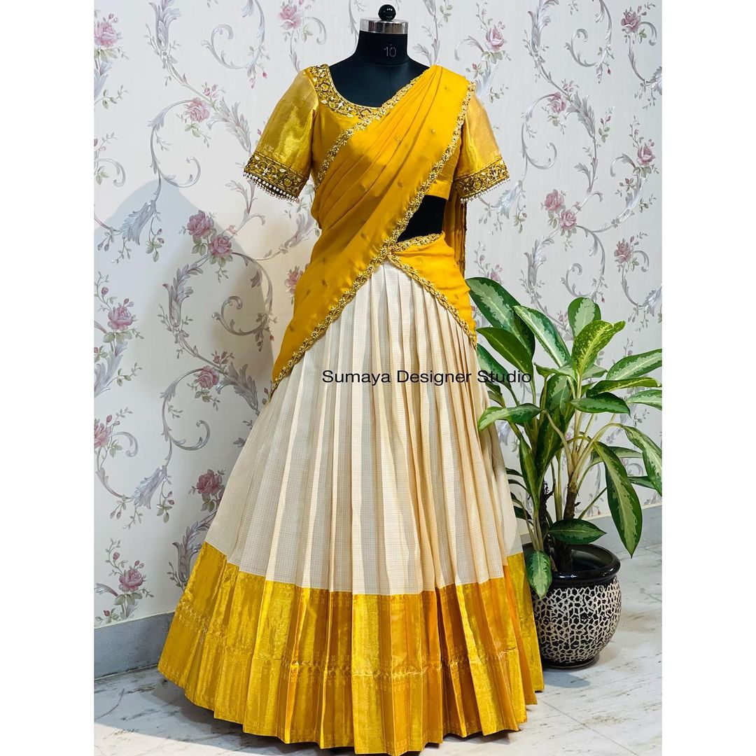 Unique and wide range of Traditional silk half sarees . Over the year they created  own signature style Pattu Pavada's ( halfsarees) ...!!!  2021-10-05