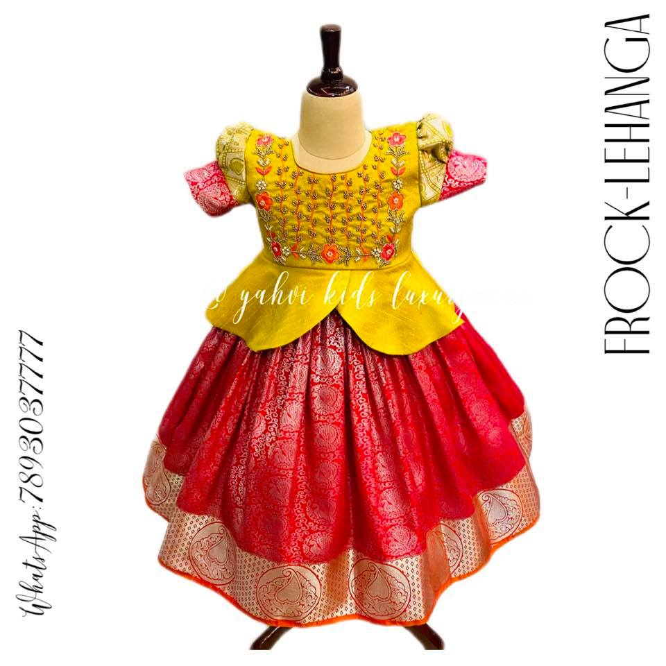 kanchi kids lehanga fusion to look trendy yet ethnic . For orders : DM or whatsapp 7893037777( messages only   no calls plz )  2021-10-06