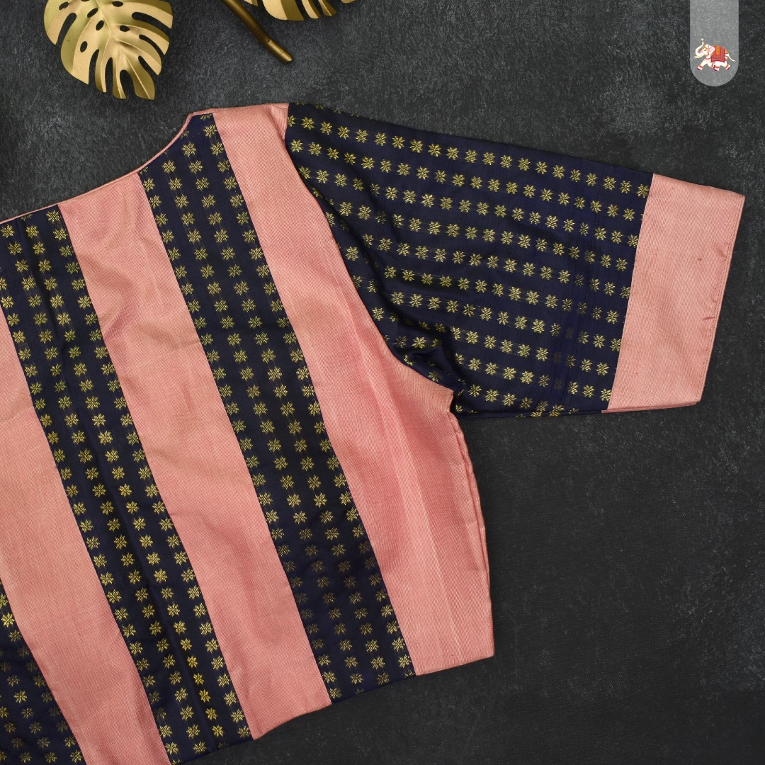 Baby pink with blue Kanchi silk ready-made designer blouse that can be paired with a saree to make you ethnic look stunning! 2021-10-07
