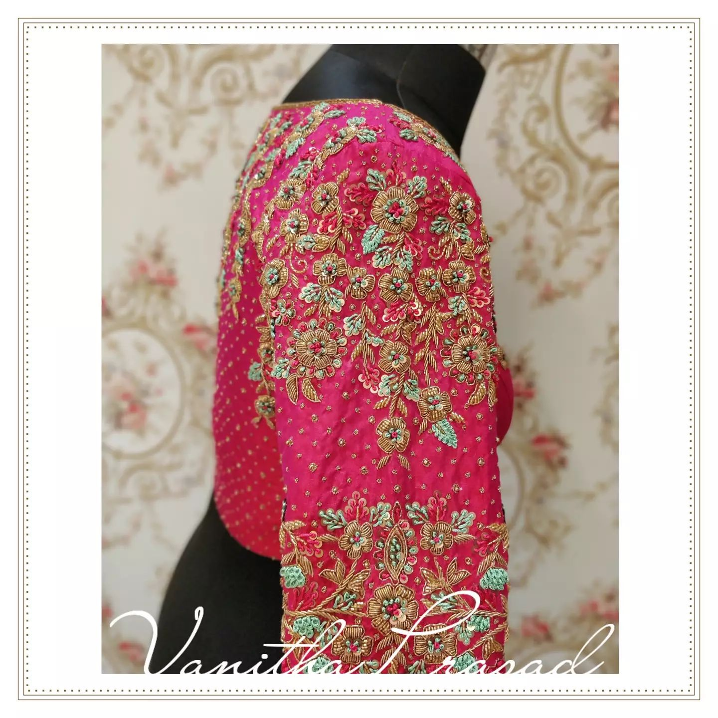 High neck bridal blouses always seem to steal the show! Stunning bridal blouse with floral gold thread maggam work. 2021-10-07