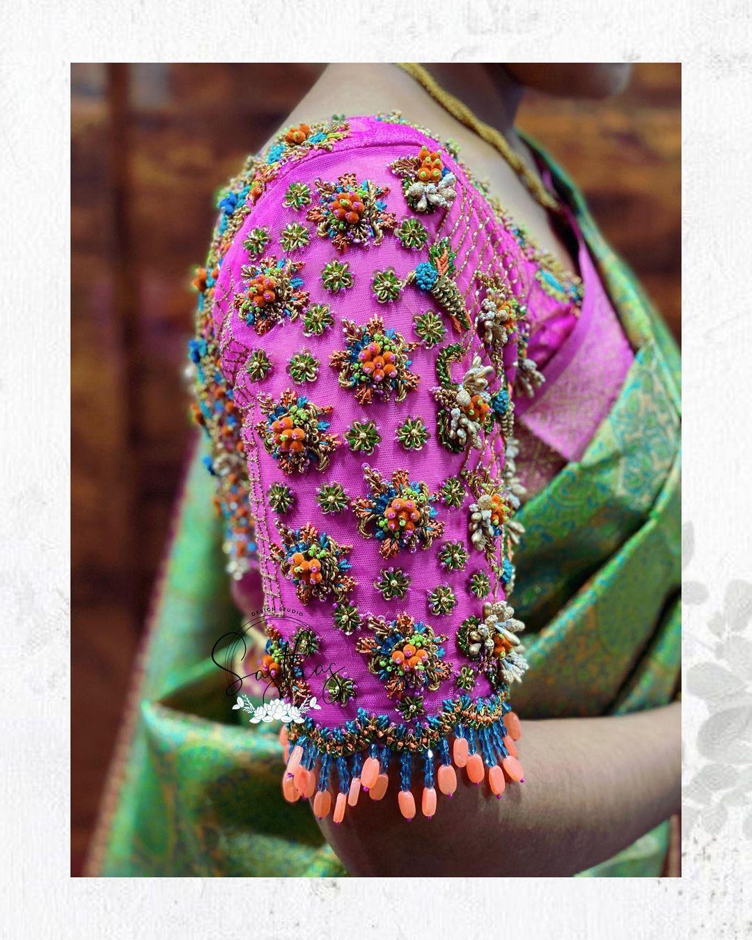 Beautiful aari work bridal blouse sleeve collection. 2021-10-07
