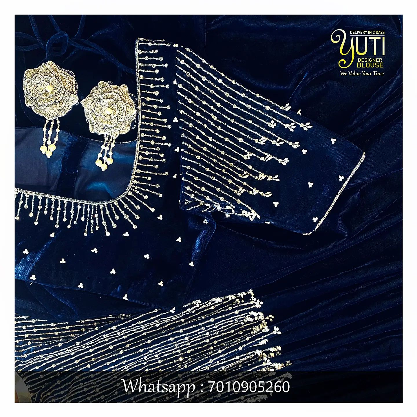 Gorgeous deep blue color velvet blouse with silver thread and bead aari work.  2021-10-08