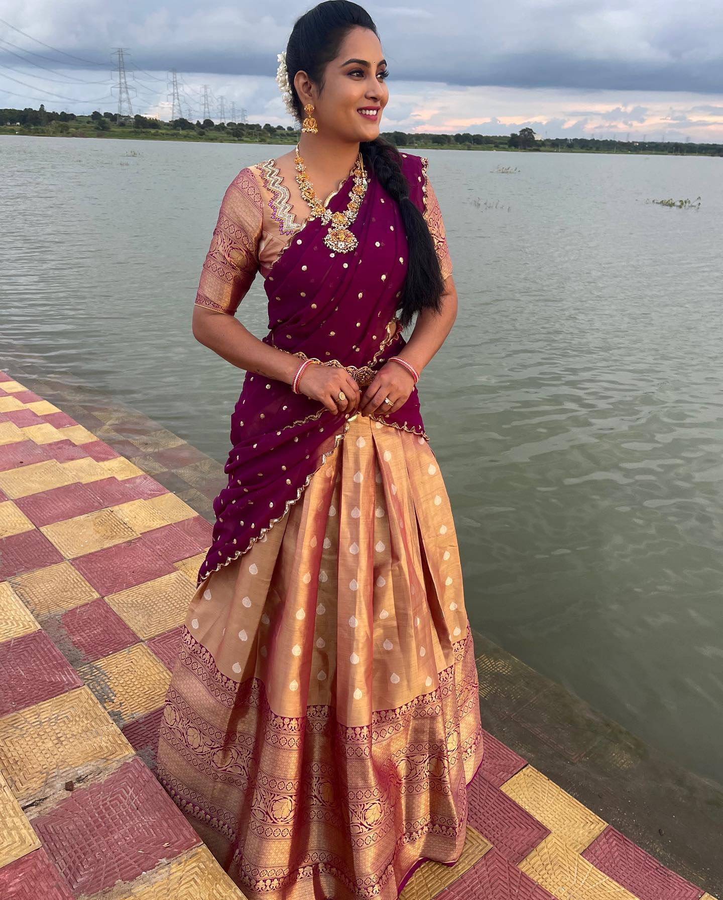 Stunning actress Himaja in off white and purple color combination traditional pattu halfsaree. 2021-10-08