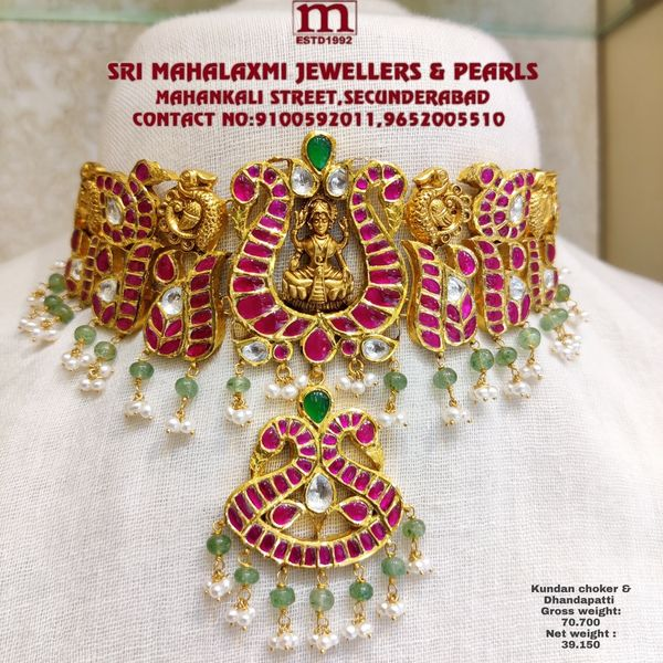 New Collection Added Antique Work Kundan Choker and Dhandapatti In The Stock Studded with Kundan and  pearls Emerald  2021-10-08