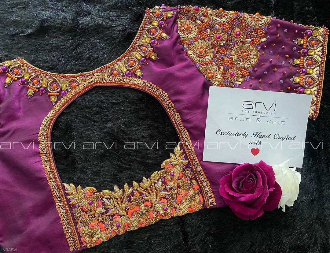 Stunning purple color bridal blouse with floral gold thread and bead zardosi work.  2021-10-08