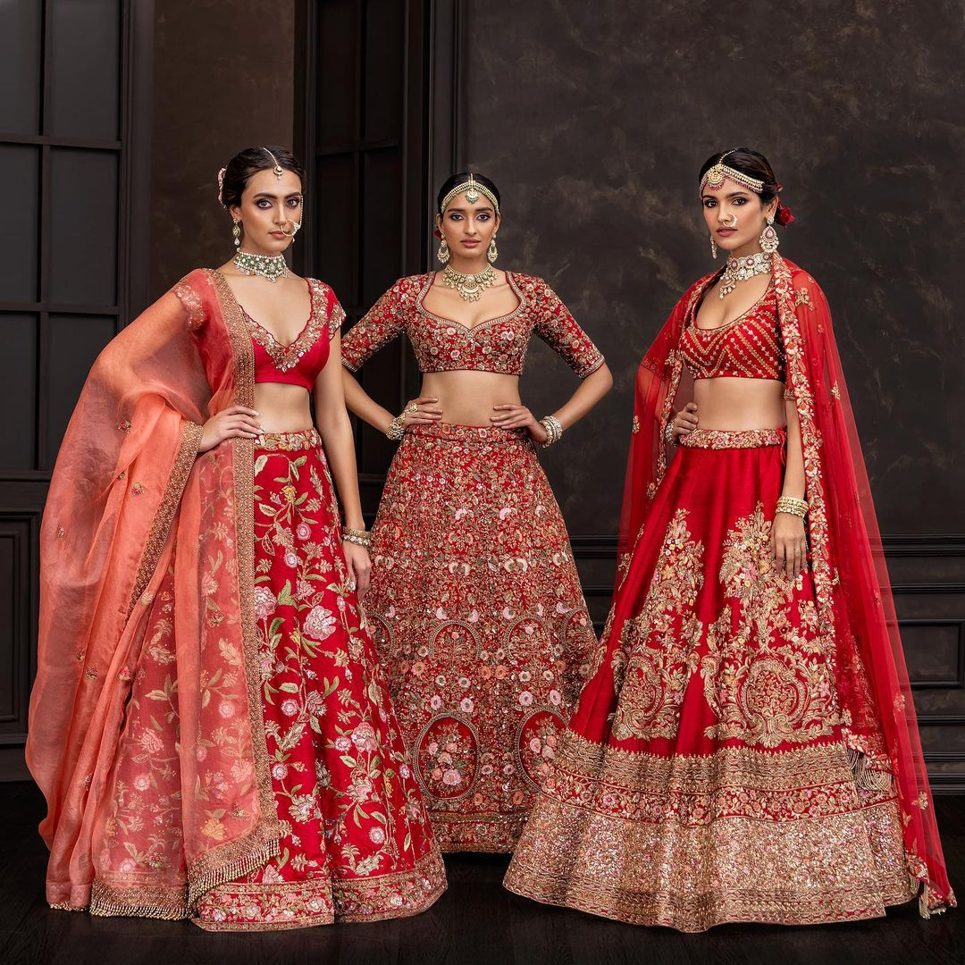 Gorgeous red embroidery bridal lehenga collection.  2021-10-08