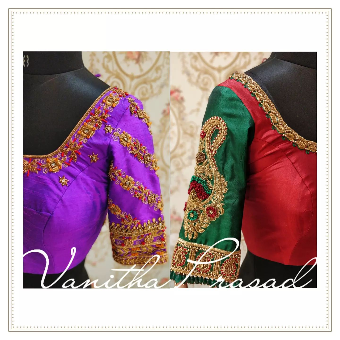 Designs that speak volumes of versatility. Gorgeous blouse with hand embroidery maggam work.  2021-10-09