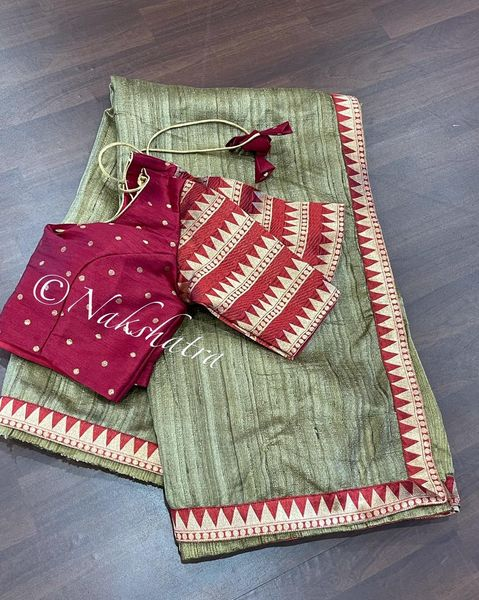 Pure tussar saree with banarasi temple border paired with beautiful blouse. 2021-10-09