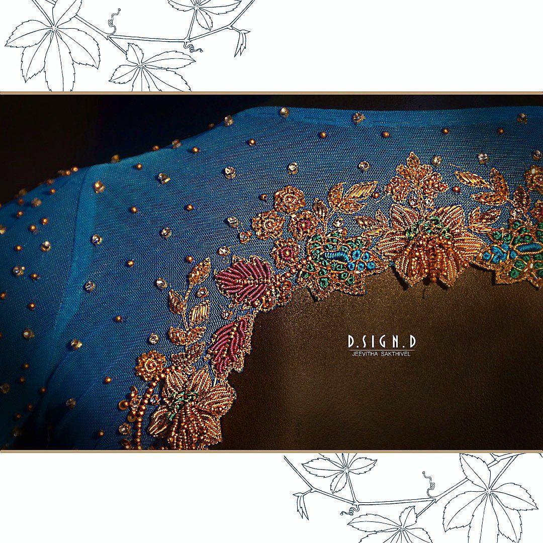 Gorgeous blue color bridal blouse with zardosi work. 2021-10-09