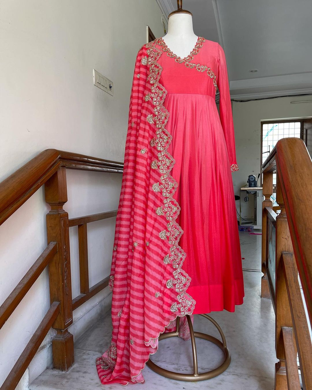 Gorgeous wrap style wrap style floor length long frock with cut work dupatta. Email for orders varunicouturehyd@gmail.com WhatsApp 9121017226. 2021-10-09