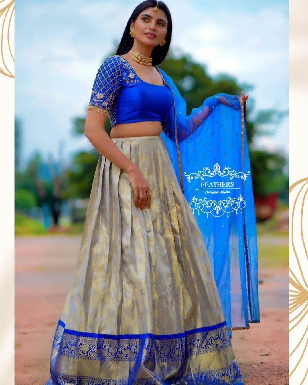 Gorgeous Varsha styled in  Ethinic half saree drape.  Outfit : Feathers designer studio. 2021-10-09
