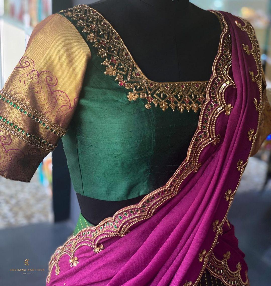 Gorgeous bottle green color bridal blouse with zardosi work. 2021-10-09