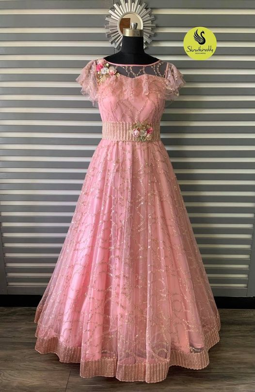 Gorgeous blush pink color floor length long gown with embroidery work.  2021-10-10