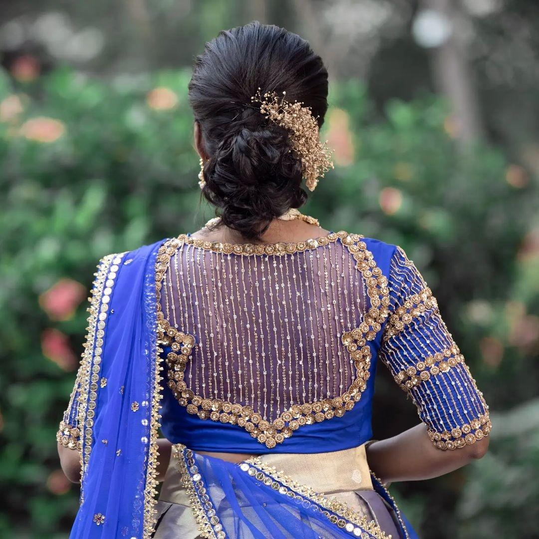 Stunning sheer back bridal blouse with bead aari work. 2021-10-10