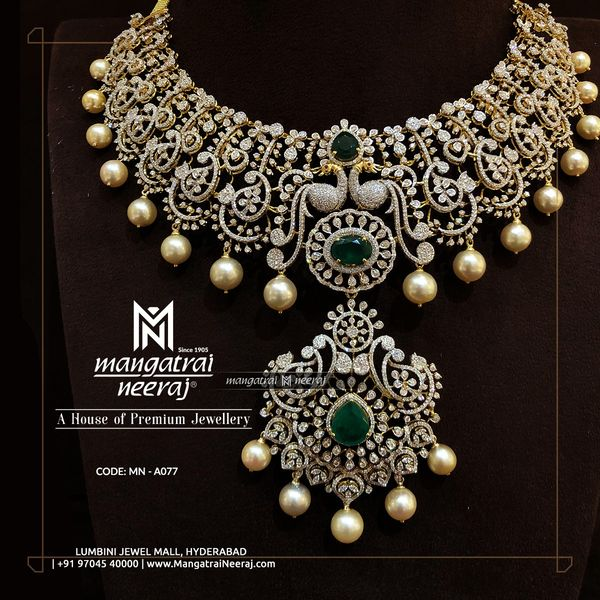 Diamond haram with Changeable stones and pearls by Mangatraineeraj -  A House of  Premium Jewellery.  Call/WhatsApp: +91 9704540000/9704020000 2021-10-10