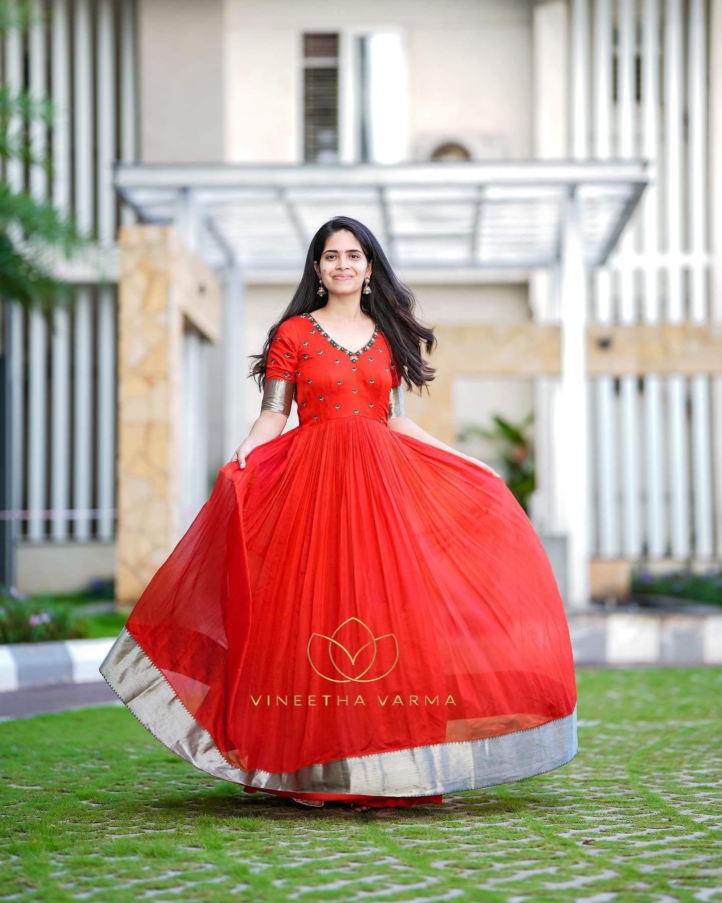 Gorgeous red color Mangalagiri pattu long frock with hand embroidery yoke.  2021-10-11