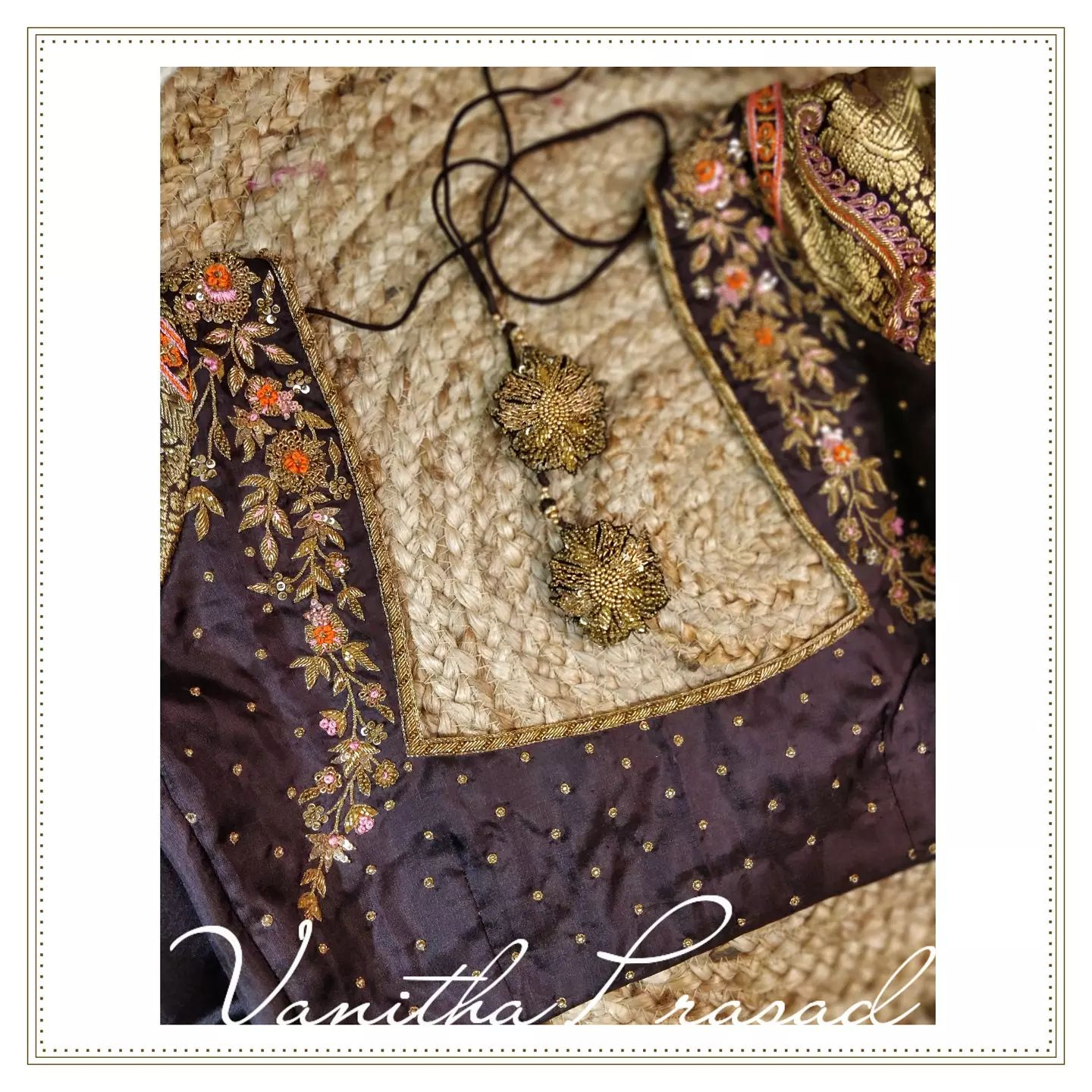 Fact: Rare combinations inspire us more. Gorgeous brown color bridal blouse with zari sleeves. Blouse with floral and creeper hand zardosi work. 2021-10-11