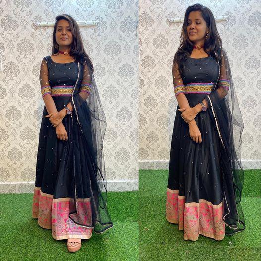 Black and Banarasi silk Dress netted sleeves yoke with Gota waist and netted Duppata ...!!  Watsapp us on 8072774265 2021-10-11