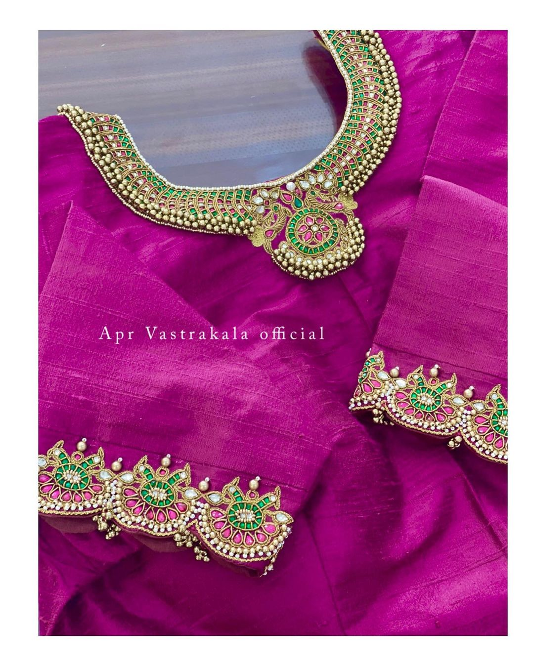 Stunning purple color blouse with jewel theme embroidery bead and kundan work. Designer Necklace work- Pearls n emeralds work.  2021-10-11