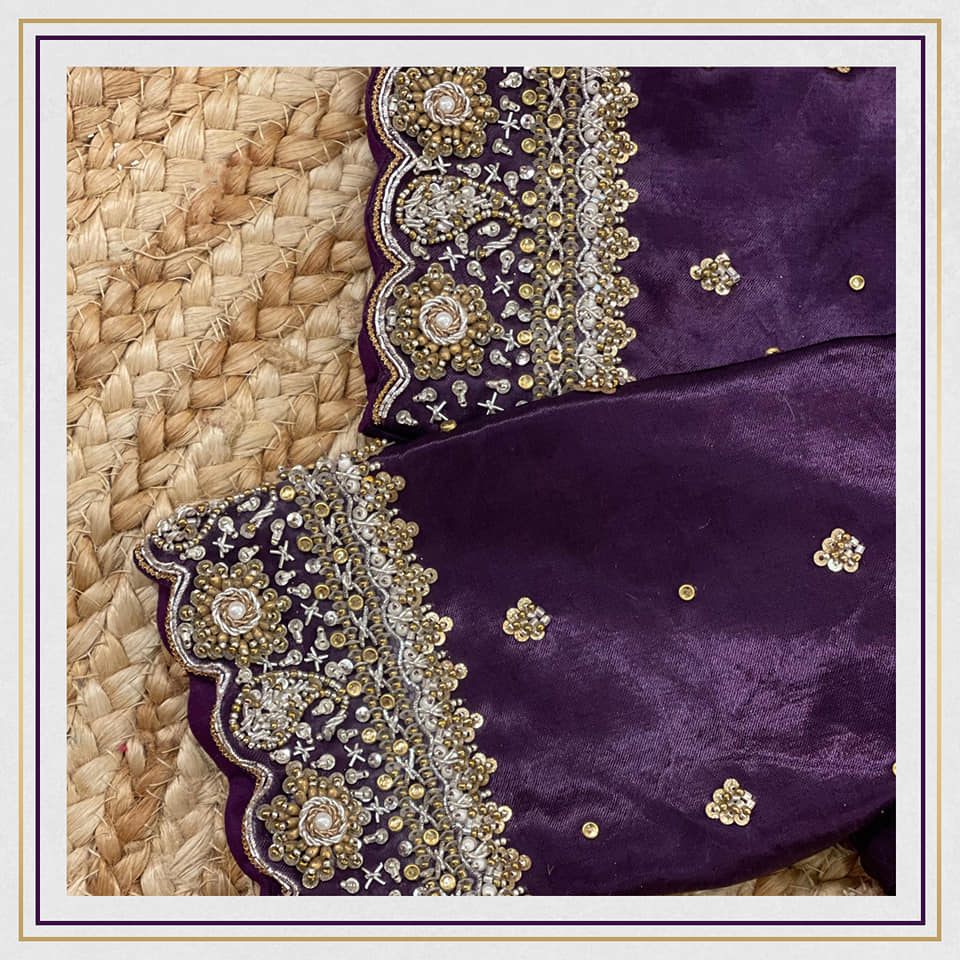 Stunning purple color gajji silk blouse with gold and silver zardosi work on neckline and sleeves. 2021-10-12