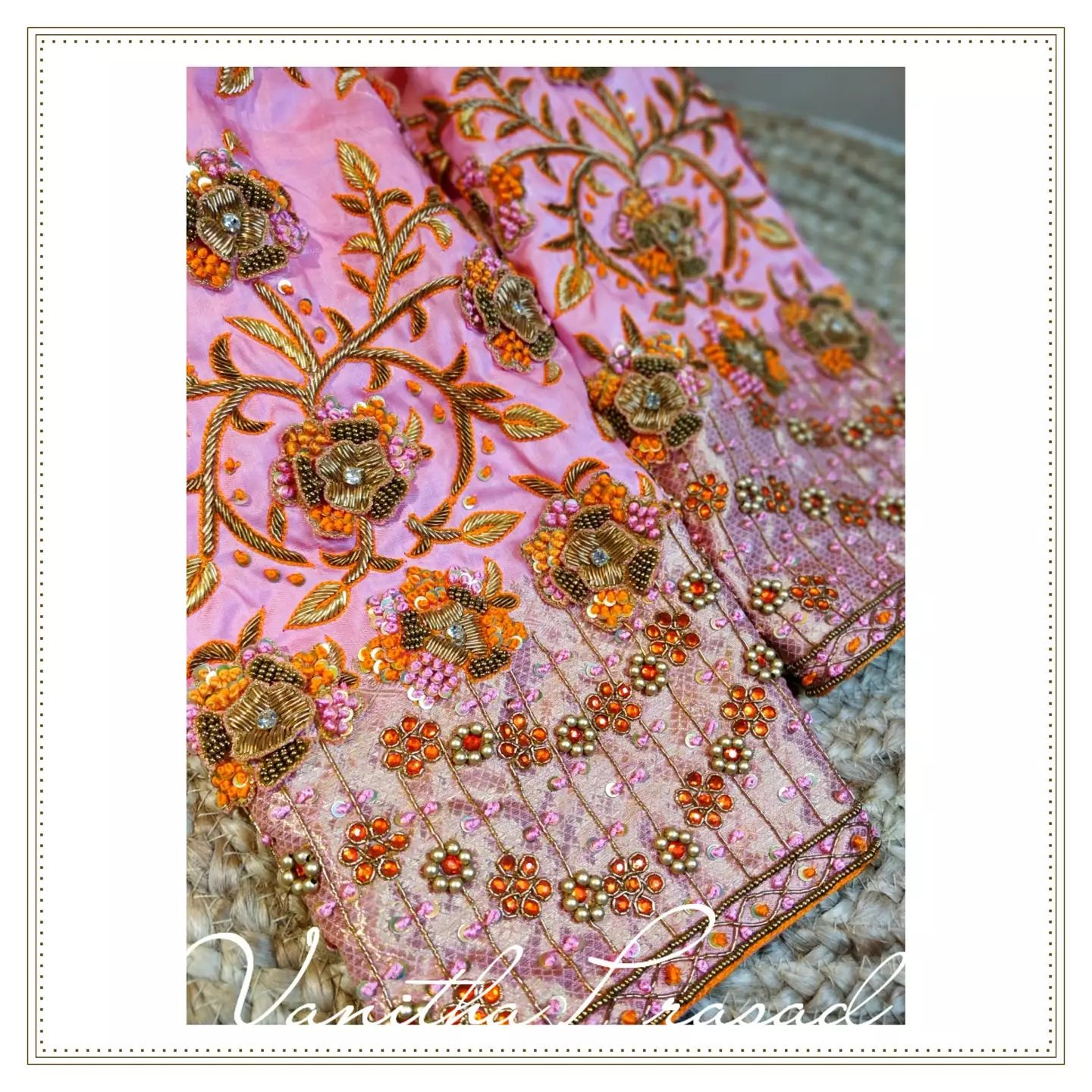 Gorgeous blush pink color bridal blouse sleeves with floral and creeper gold thread and kundan maggam work. 2021-10-12