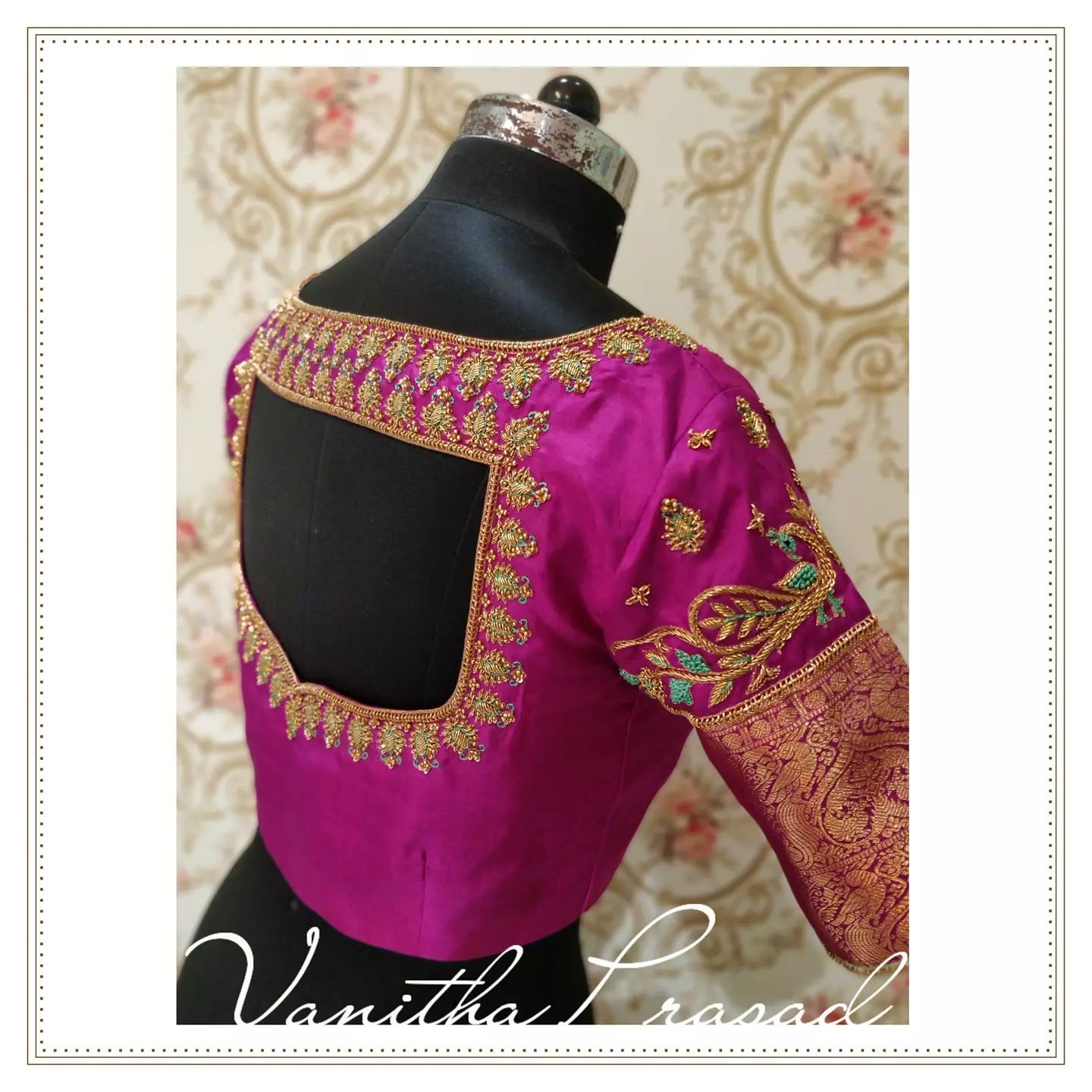 Gorgeous pink color bridal blouse with peacock and floral hand embroidery gold thread zardosi work.  2021-10-12