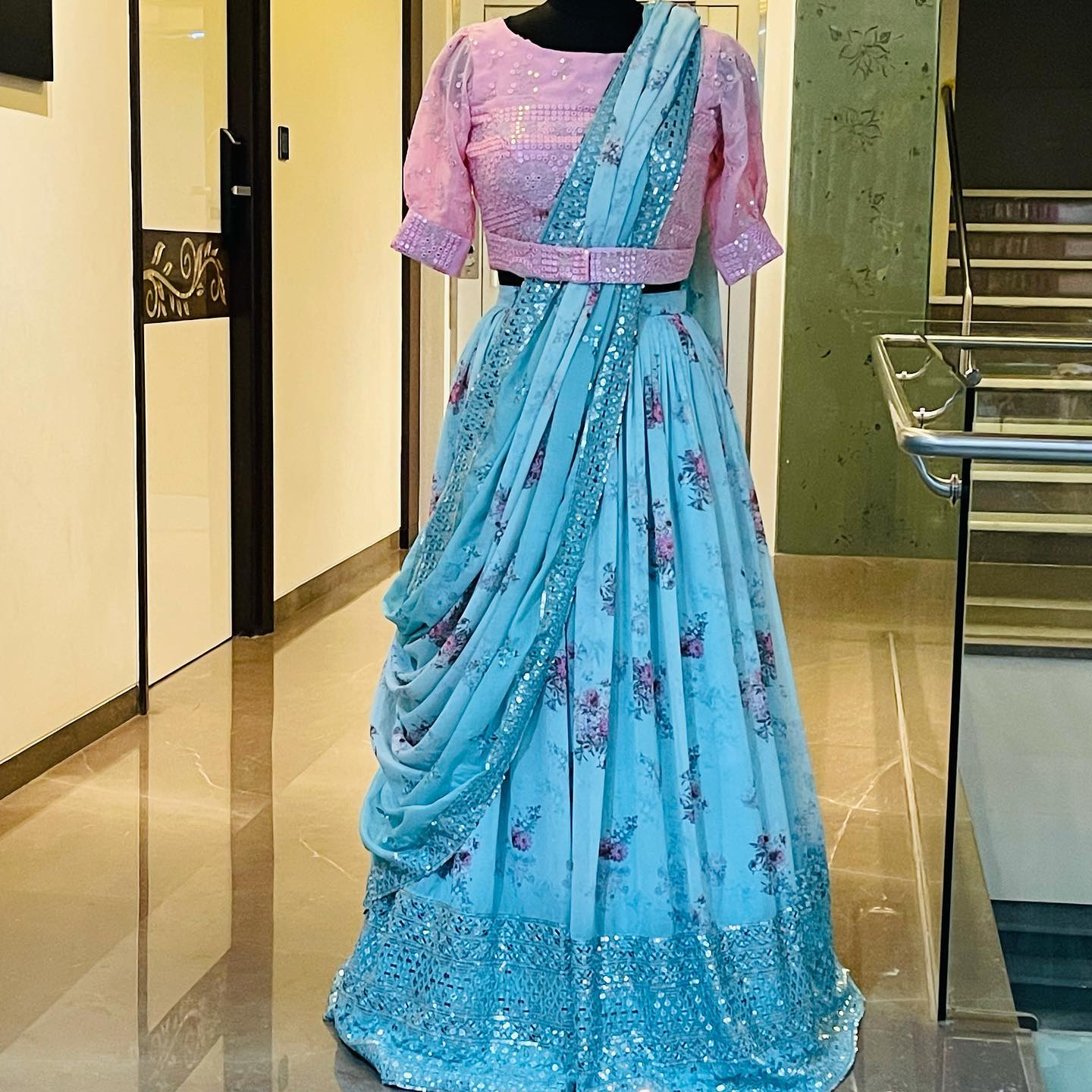 Stunning Georgette floral lehenga and blush pink color mirror work blouse with mirror work chiffon dupatta.  2021-10-12
