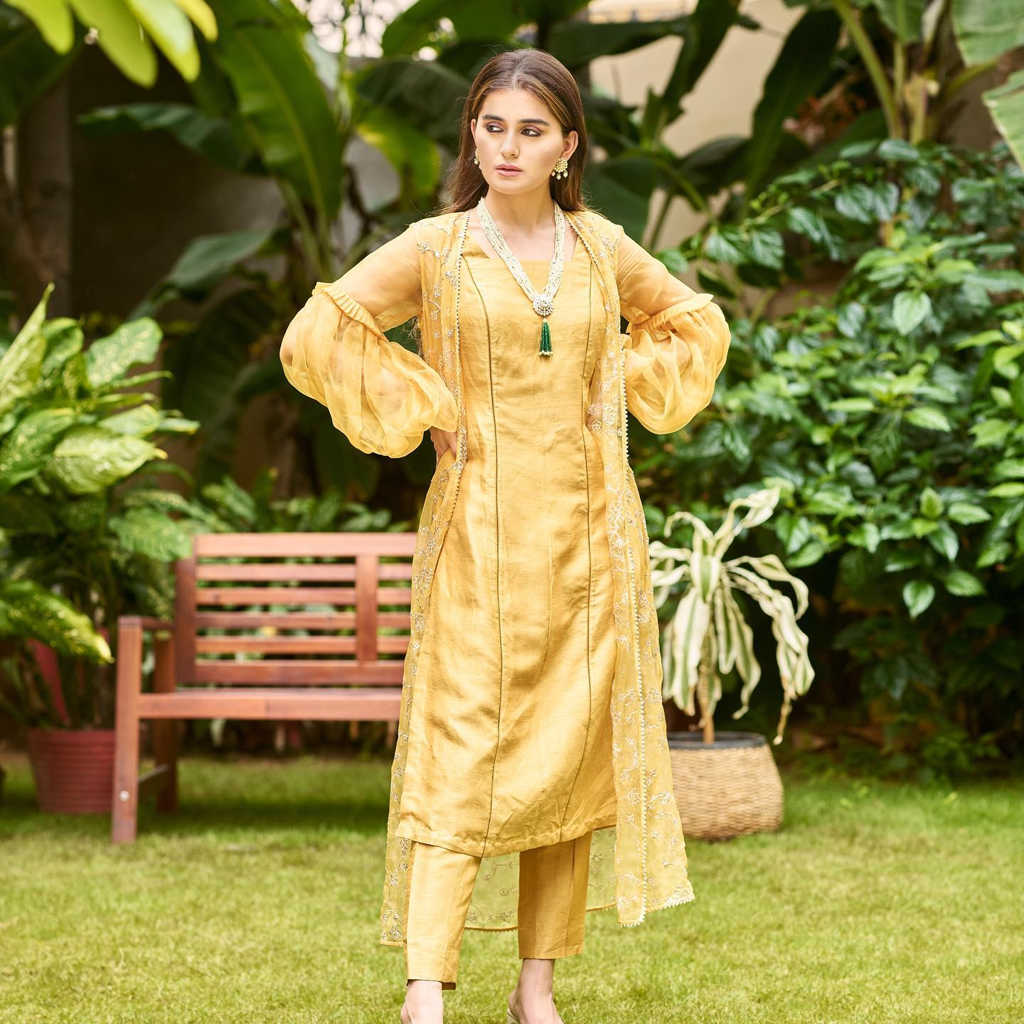 Phulwari . Zara in Daffodil yellow kurta set. Straight kurta and pants are assembled together with a pita work jacket that has bell sleeves.  To shop new collection Phulwari DM  or Whatsapp  on +91 99083 48333. 2021-10-12