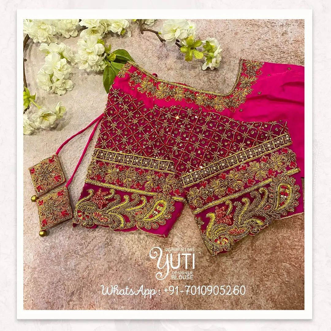 Beautiful pink color bridal blouse with gold thread and zardosi work on neckline and sleeves. 2021-10-12