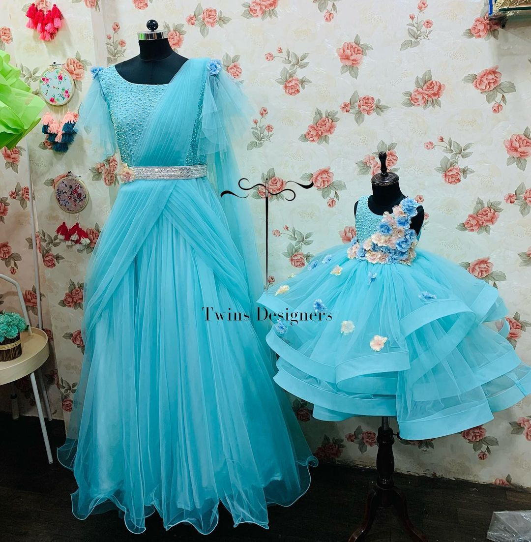 Stunning ice blue color mom and daughter outfit. 2021-10-12
