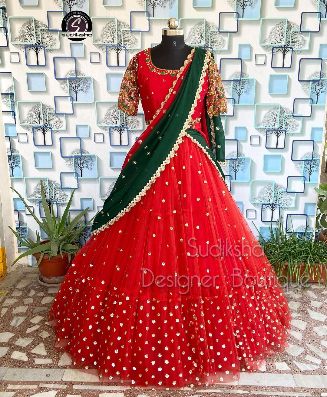 Gorgeous red net bridal lehenga with mirror work and blouse with net dupatta. 2021-10-12