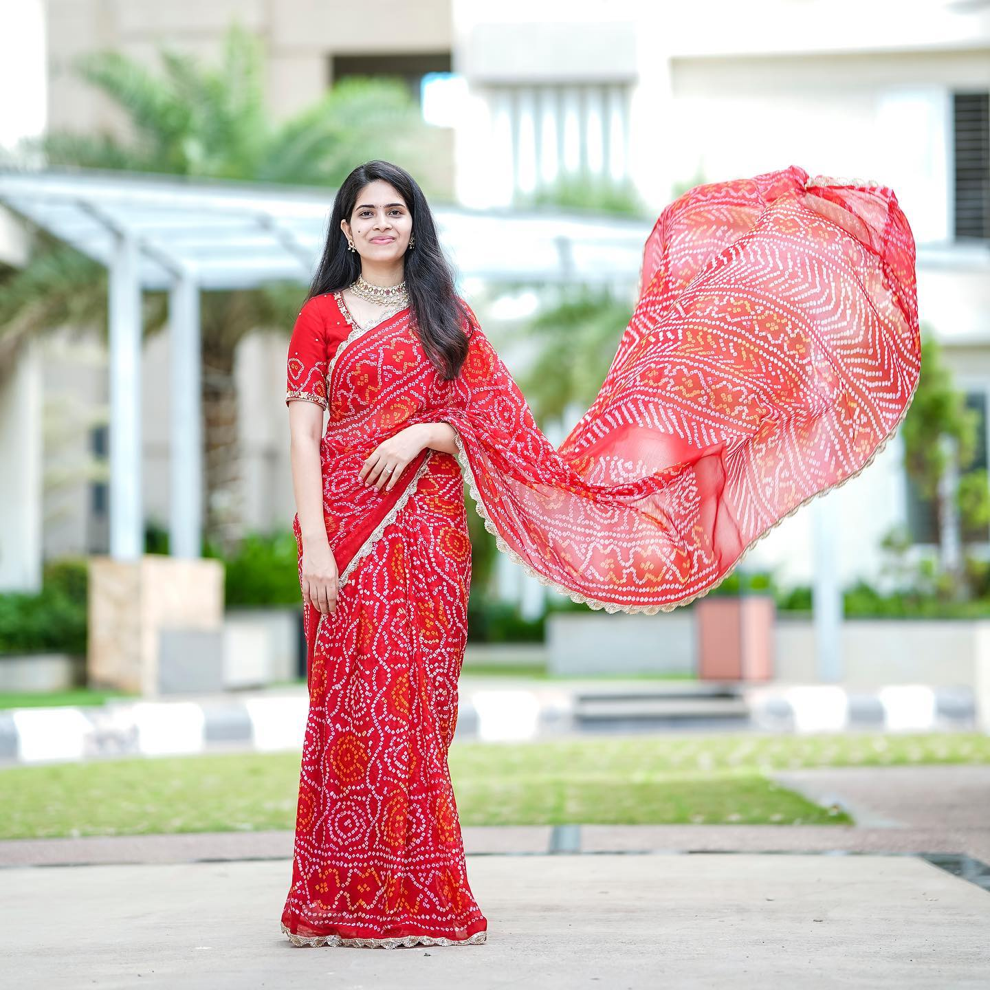 Pink bandhej crepe saree with mirror and gotta patti embroidered blouse. Blouse is fully stitched and  Saree has done with fall and pico. Price : ₹12000.00/- 2021-10-13