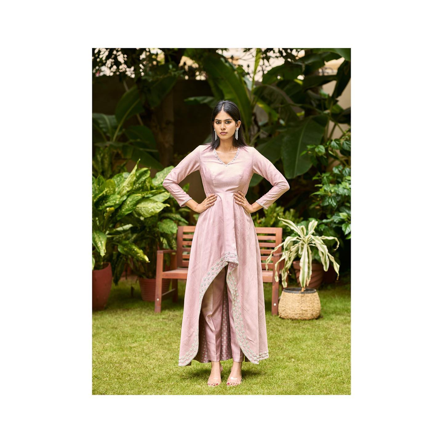 Phulwari . Divya in Maple pink high low anarkali. This ensemble is apt for cocktails and pre wedding parties with it's zardosi detailing and dressy silhouette.  To shop new collection Phulwari DM  or Whatsapp  on +91 99083 48333. 2021-10-13